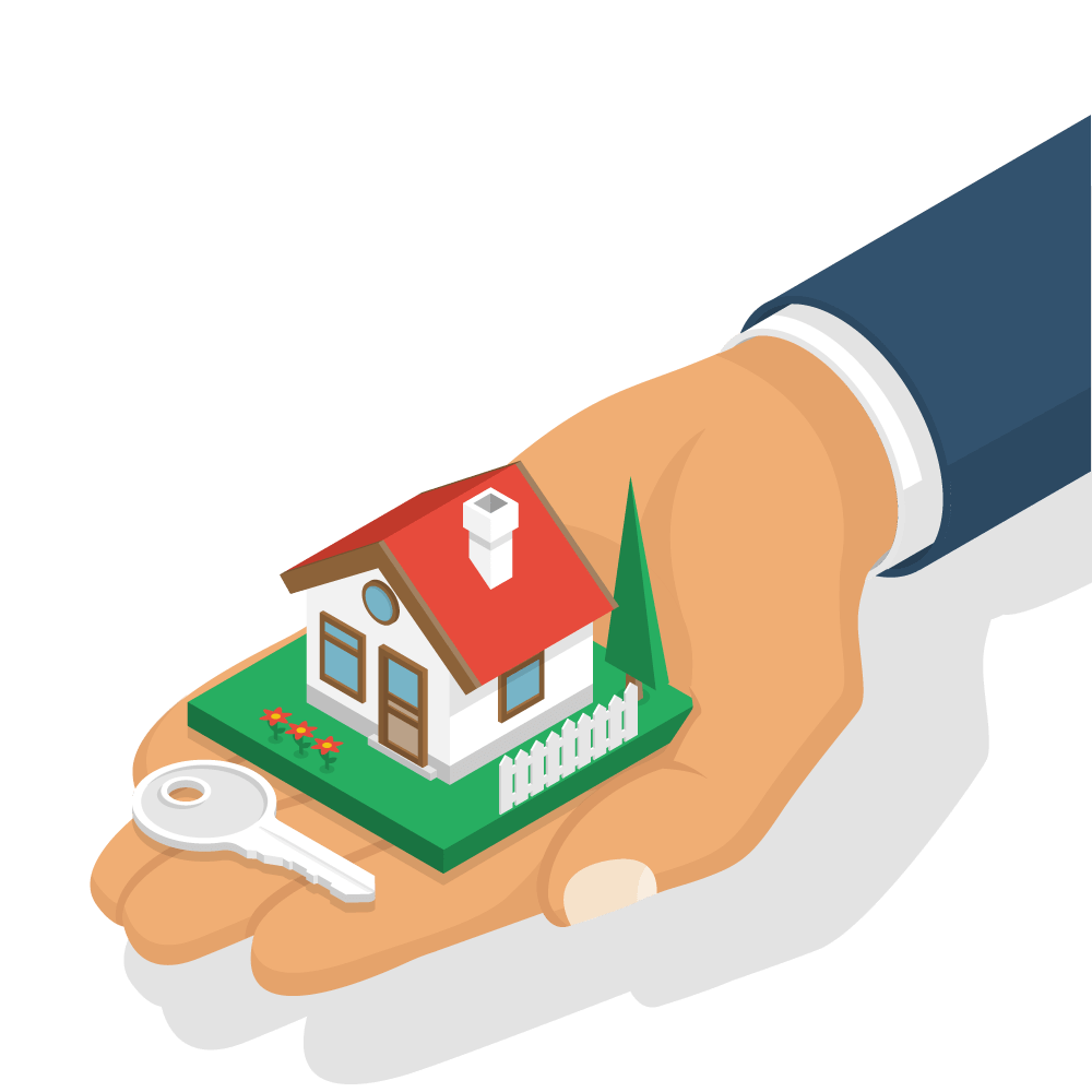 Main portant une maison immobilier
