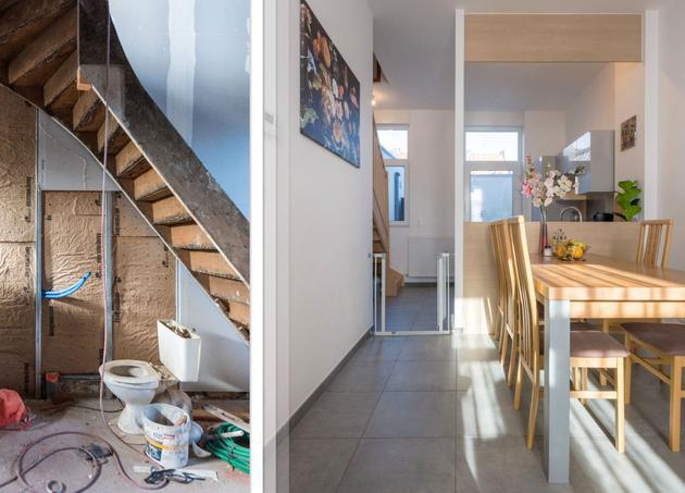 rénovation avant après maison à roubaix salon cuisine